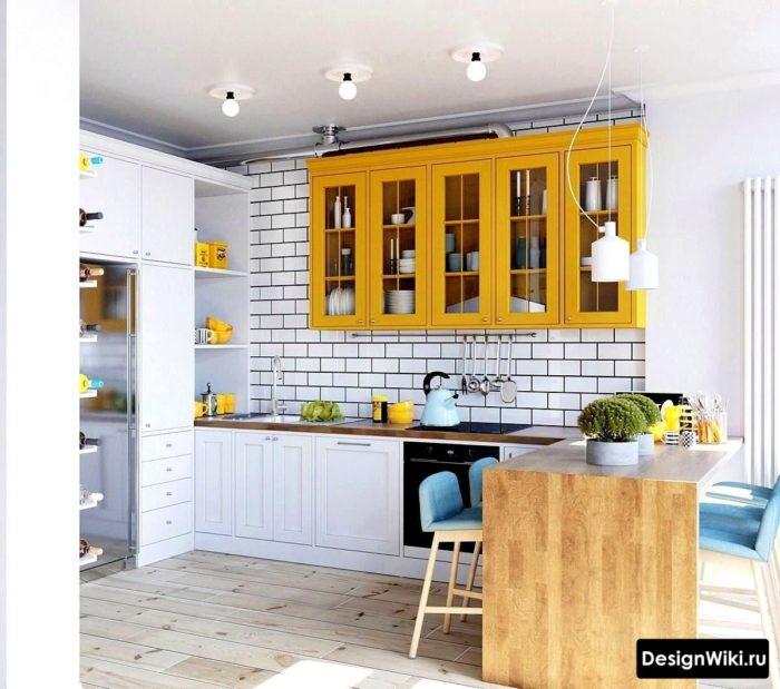 желтая кухня в скандинавском стиле