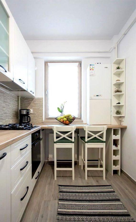 кухня в скандинавском стиле с барной стойкой возле окна