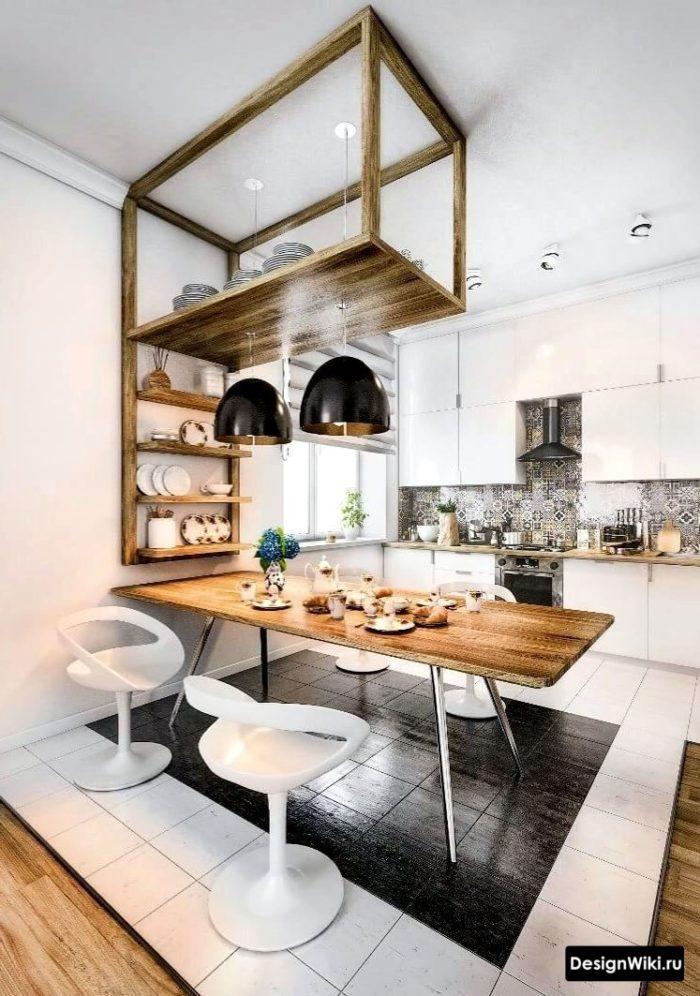 кухня в скандинавском стиле с дизайнерской барной стойкой
