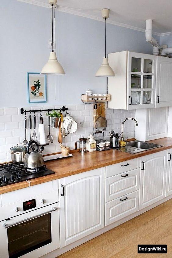 прямая кухня в скандинавском стиле