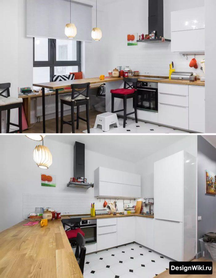 реальная белая кухня в скандинавском стиле с барной стойкой углом у окна