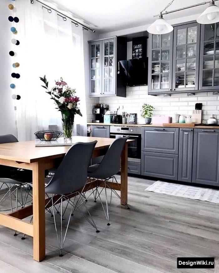 серая кухня в скандинавском стиле фото