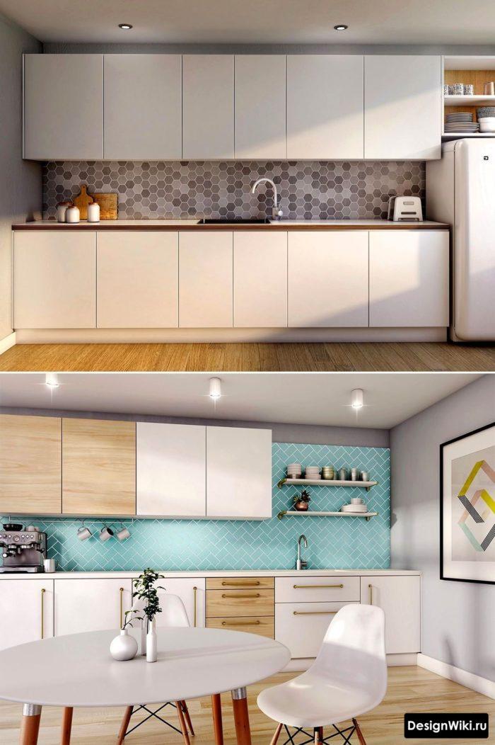 скандинавская кухня гостиная с яркими голубыми акцентами