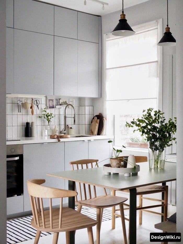 скандинавский стиль кухня гостиная