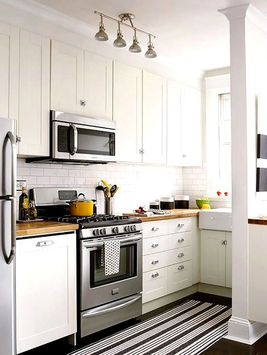 узкая кухня в скандинавском стиле