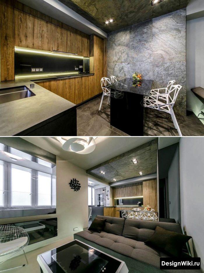 2 фото дизайна кухни в современном лофте
