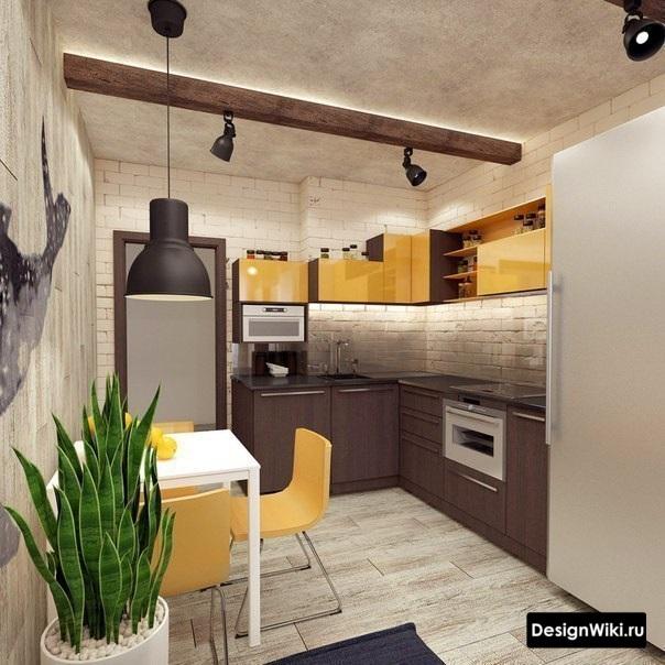 Бежевая с желтым кухня в стиле лофт