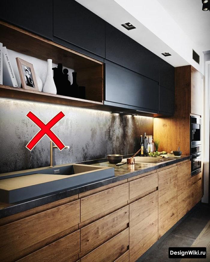 Декоративная штукатурка на фартуке кухни - ошибка