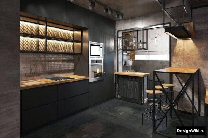 Декоративное освещение кухни в стиле лофт