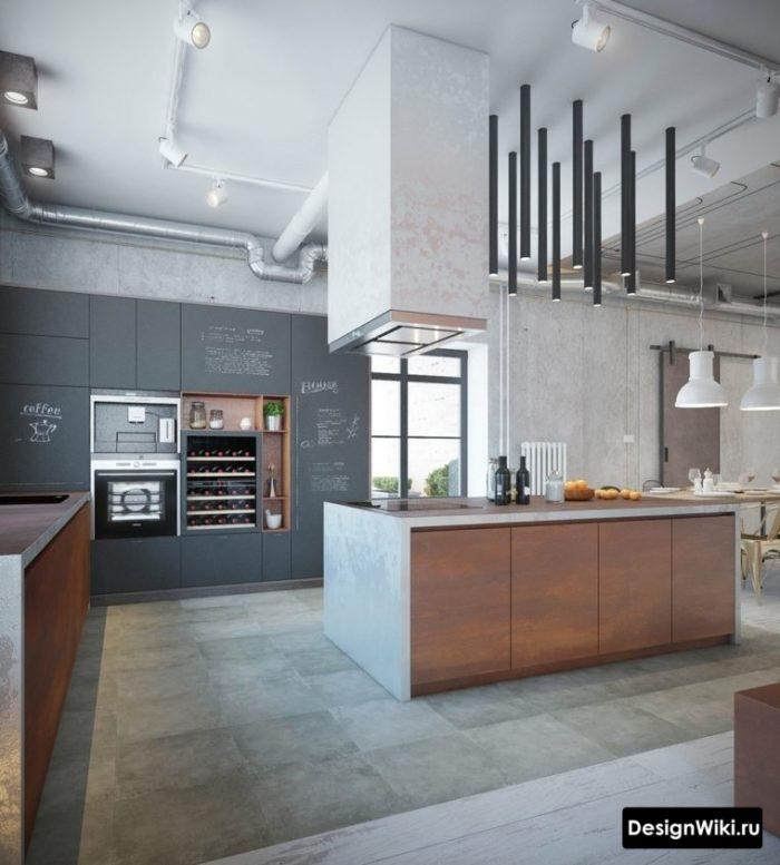 Дизайн кухни в стиле лофт с трековыми светильниками