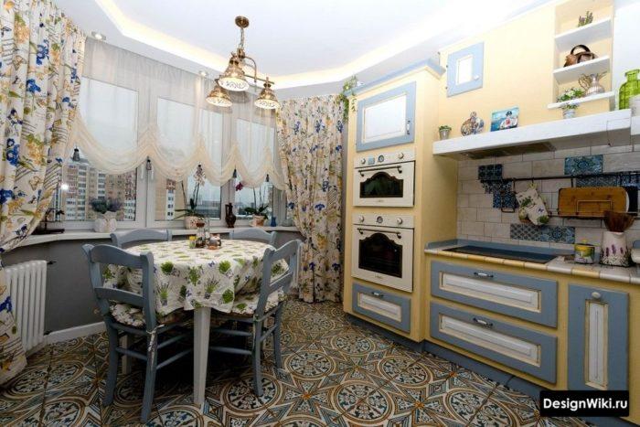 Дизайн текстиля в стиле прованс на кухне