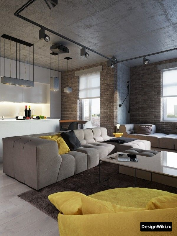 Желтый текстиль в кухне-гостиной в стиле лофт