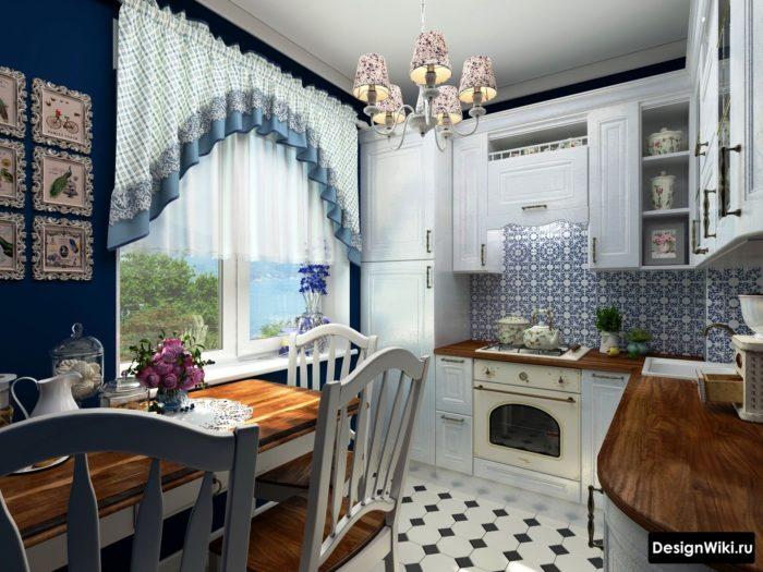 Короткая штора с драпировкой в интерьере кухни в стиле прованс
