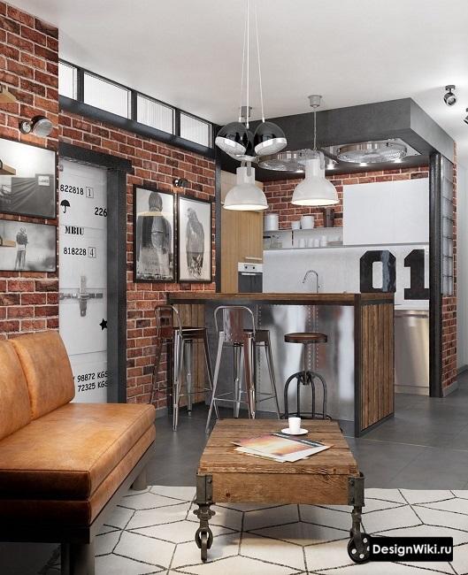 Красный кирпич в кухне в стиле лофт с барной стойкой