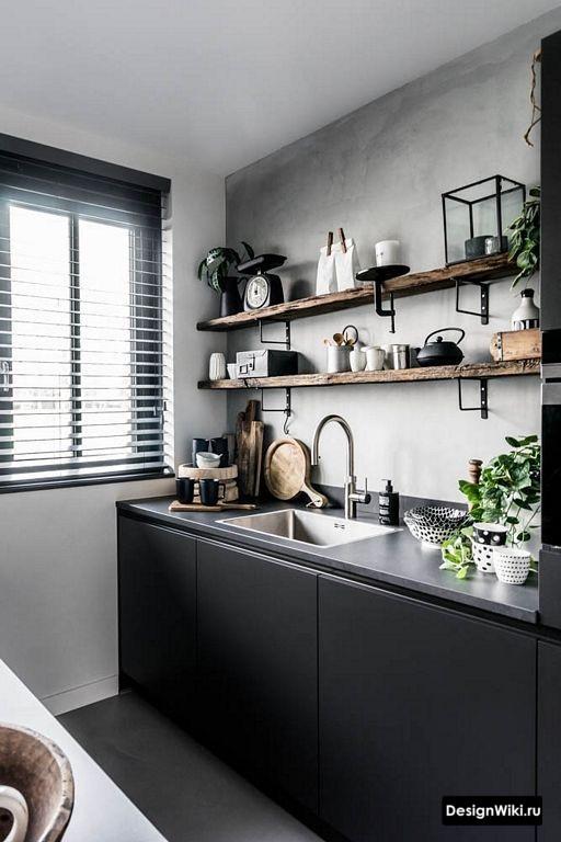 Кухня в стиле лофт без верхних шкафов
