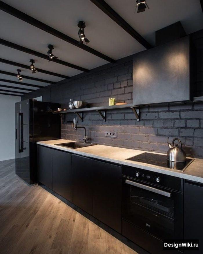 Кухня в стиле лофт в темных тонах