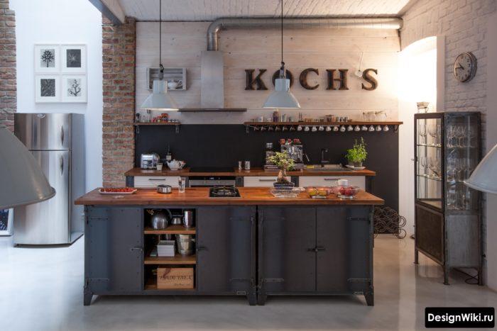 Кухня в стиле лофт с белым и красным кирпичом