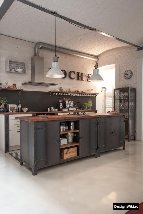 Кухня в стиле лофт с белым крашенным кирпичом