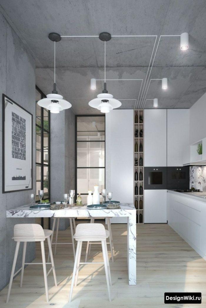 Кухня в стиле лофт с декоративной штукатуркой имитирующей бетон