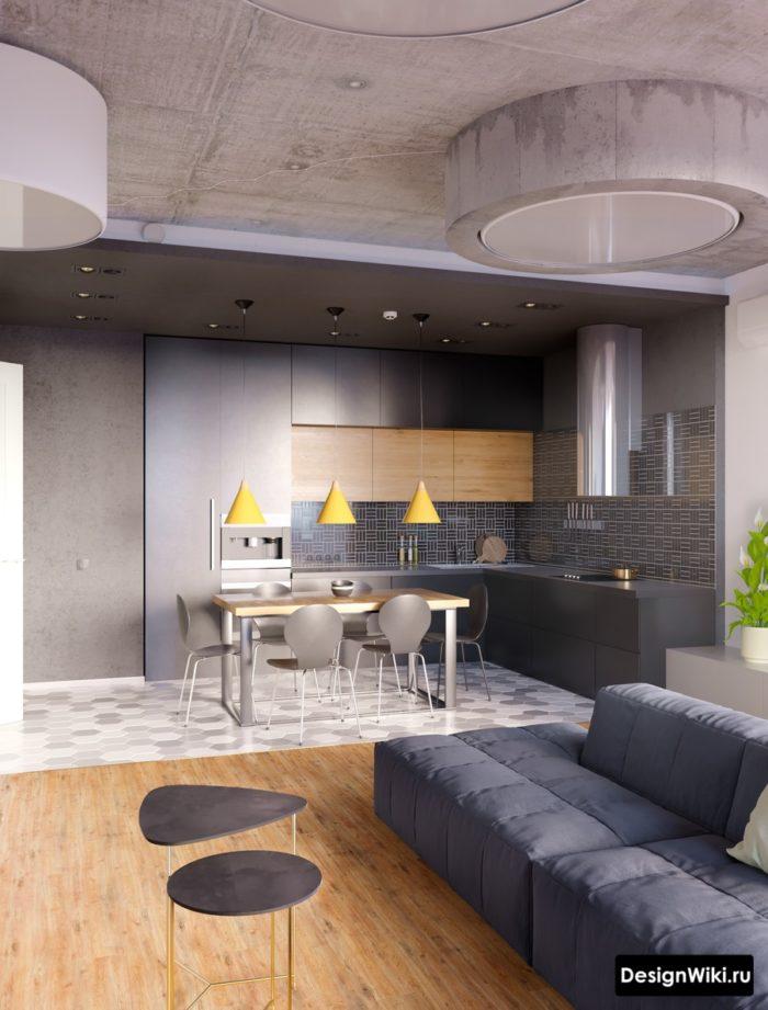 Кухня в стиле лофт с современной мебелью