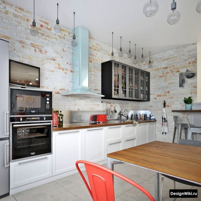 Кухня в стиле прованс с элементами лофта