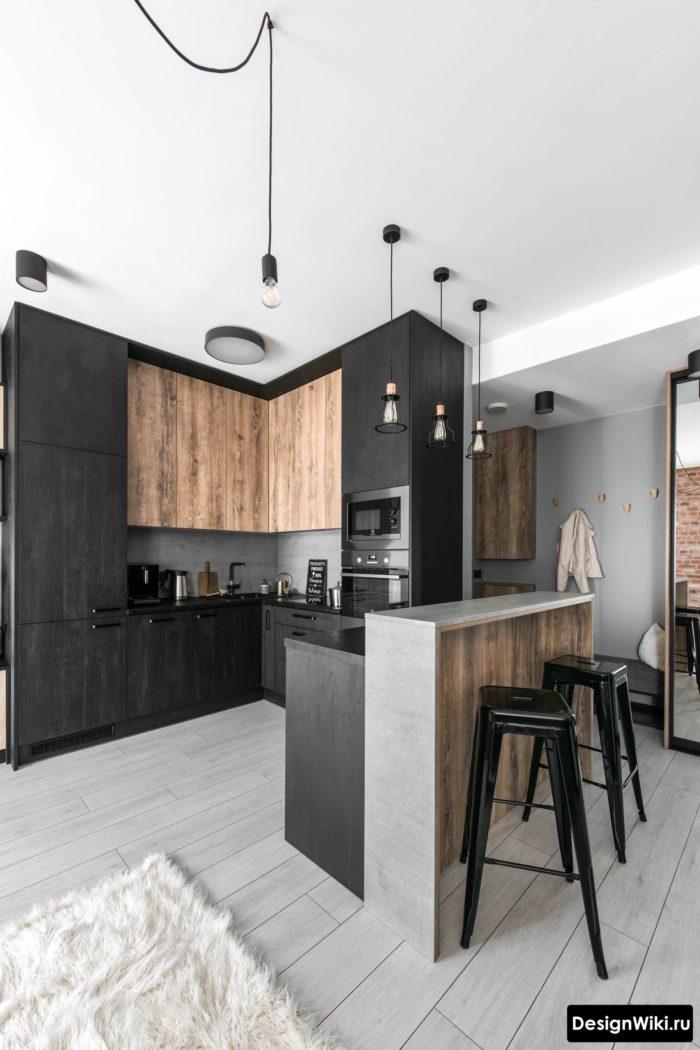 Кухонный гарнитур из темного дерева в стиле лофт