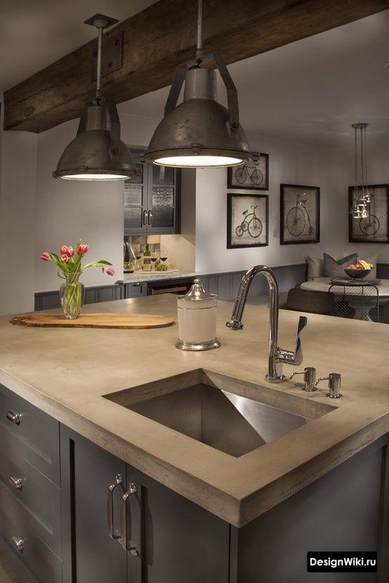 Кухонный остров со столешницей из бетона