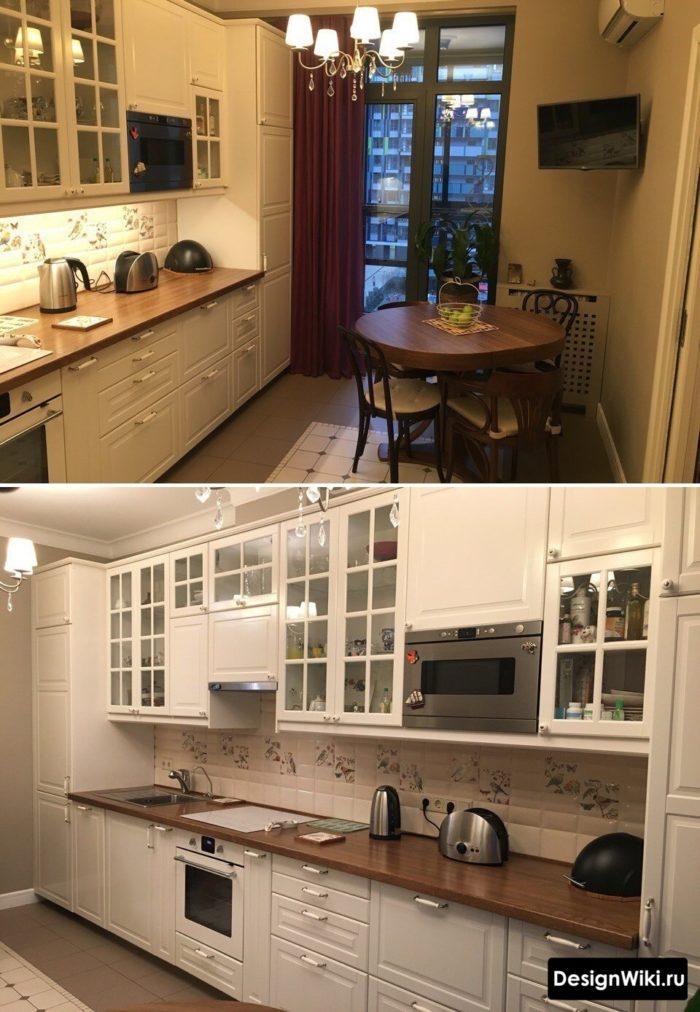 Линейная кухня в стиле профанс в реальной квартире