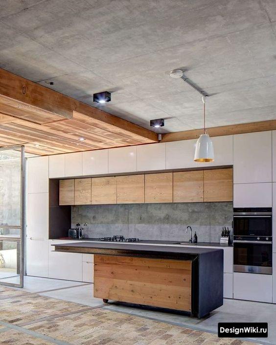 Лофт кухня с декоративной штукатуркой под бетон на потолке