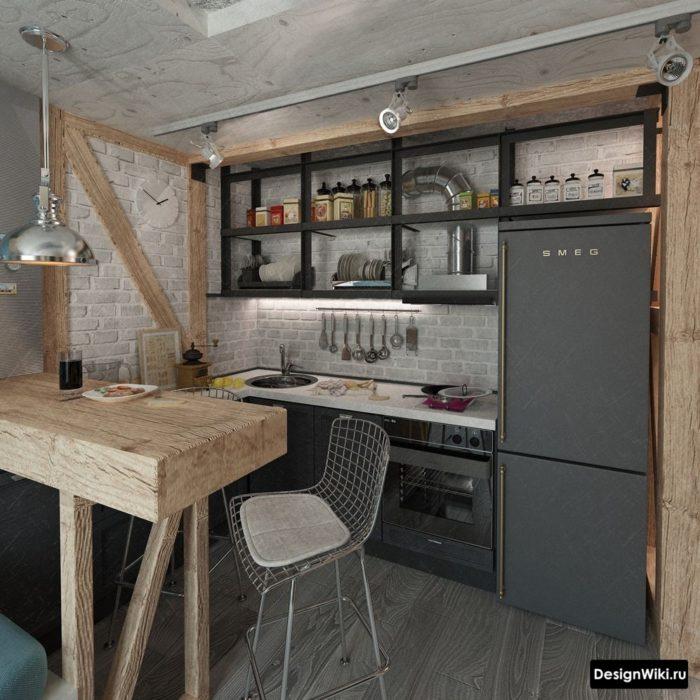 Лофт кухня с серым кирпичом и деревом