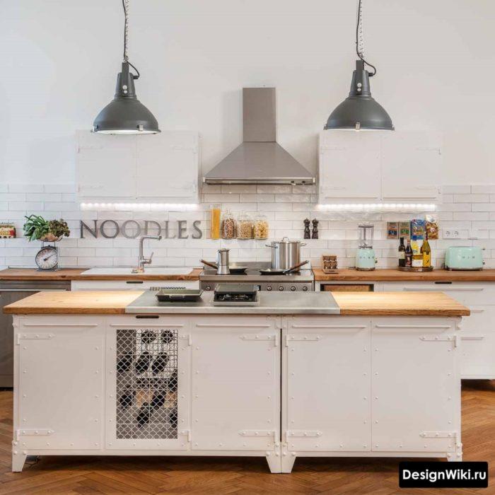 Металлические подвесные лампы на кухне в стиле лофт