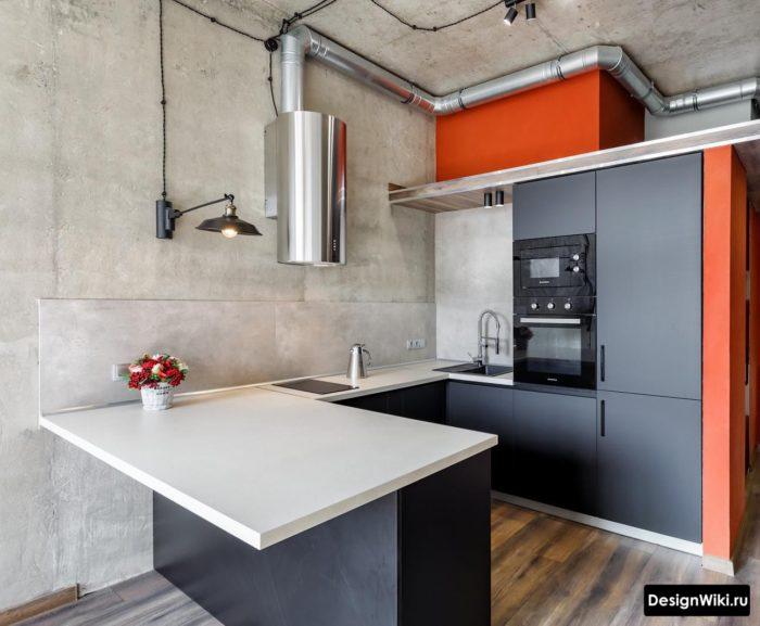 Недорогой вариант стиля лофт на кухне без отделки стен и потолка