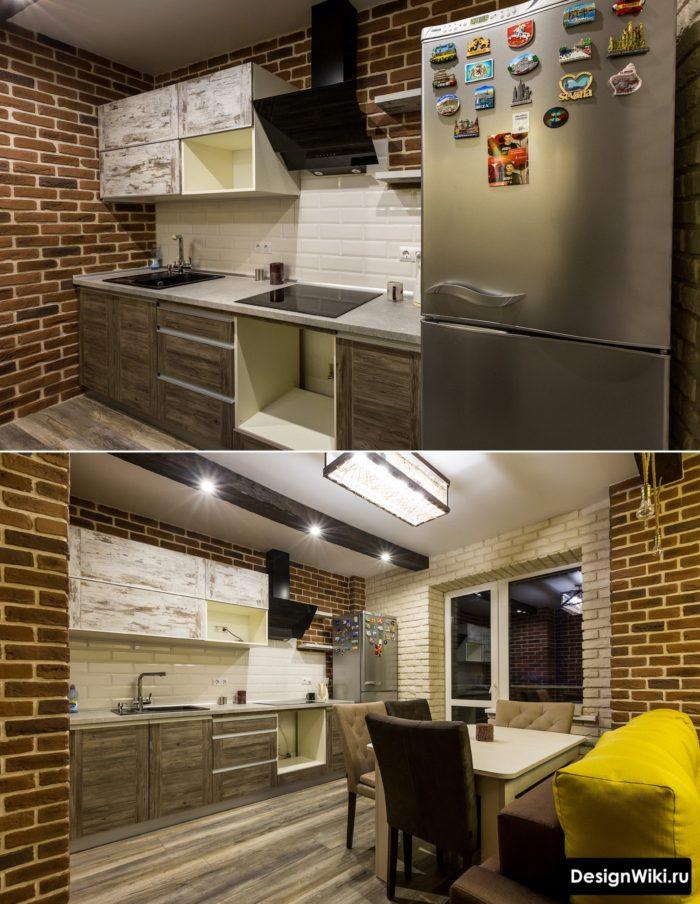 Недорогой интерьер кухни в стиле лофт