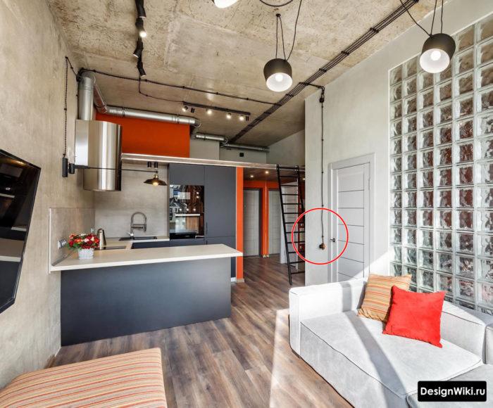 Открытая проводка в интерьере кухни в стиле лофт