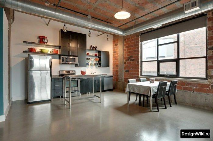 Потолок и стены без отделки а ля лофт на кухне