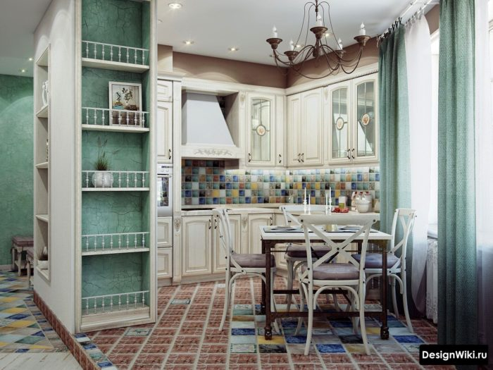 Разные цвета в интерьере кухни в стиле прованс