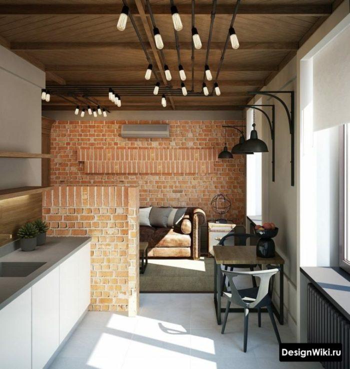 Рыжий кирпич в интерьере кухни-гостиной