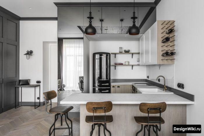 Серая цветовая гамма кухни в стиле лофт