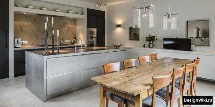 Серый и дерево в интерьере лофт кухни