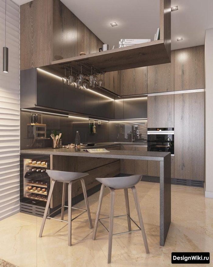Современный дизайн кухни с барной стойкой из камня