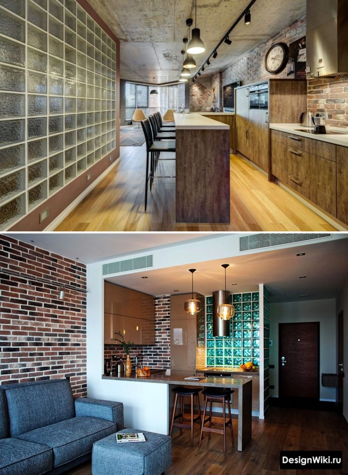 Стеклоблоки в интерьере кухни в стиле лофт
