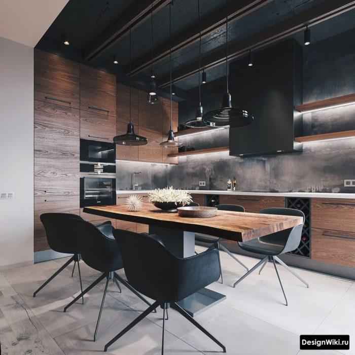 Стильная черная кухня в стиле лофт