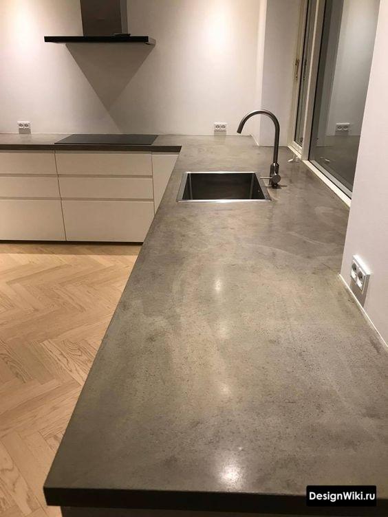 Столешница из бетона в интерьере реальной кухни