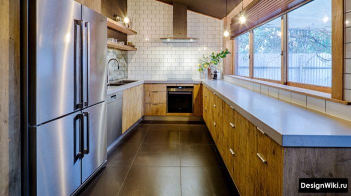 Столешница из бетона в современной кухне