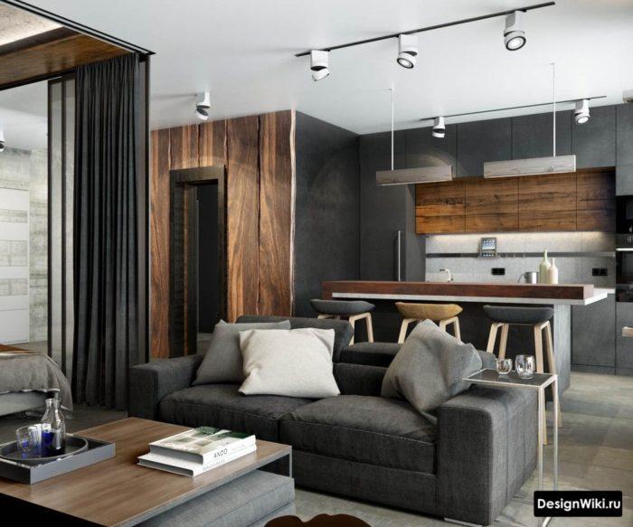 Темно-серая мебель для кухни в стиле лофт