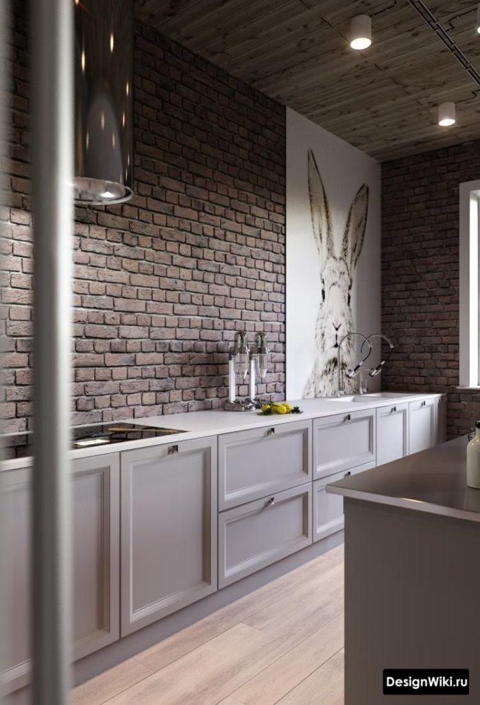Темно-серый кирпич в интерьере кухни в стиле лофт