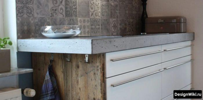 Торец бетонной столешницы на кухне
