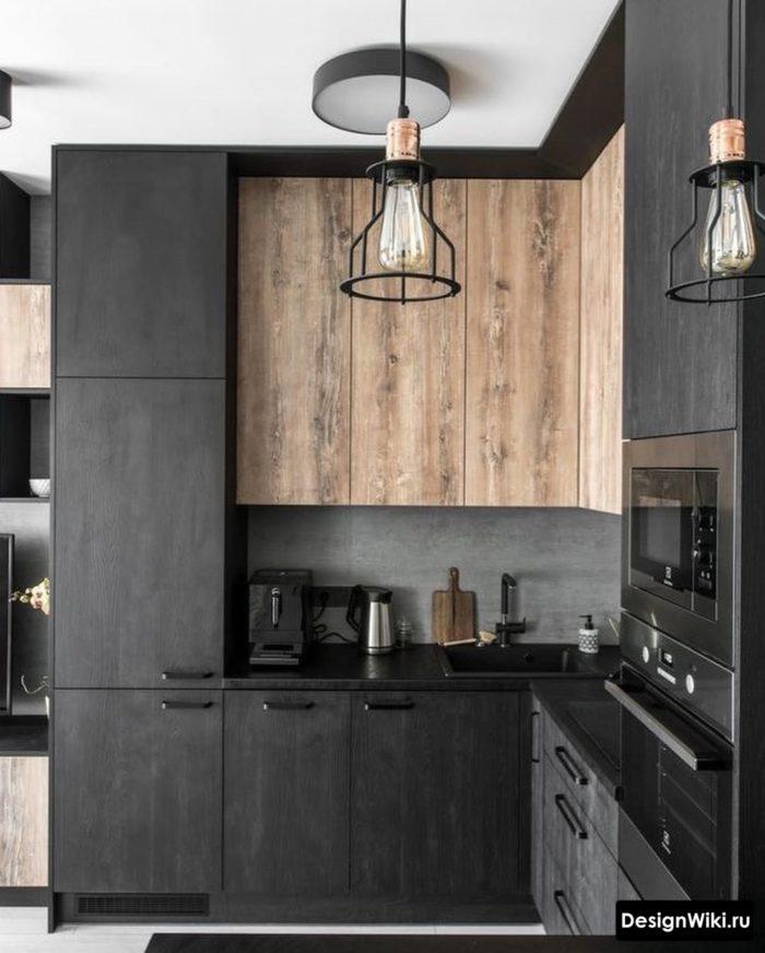 Тёмно-серая лофт кухня до потолка
