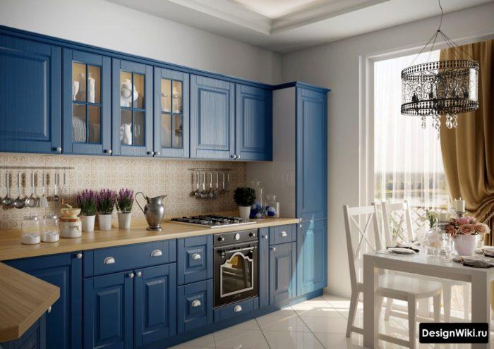 Тёмно-синяя кухня в стиле прованс