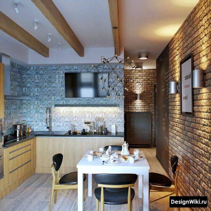 Фальшбалки на потолке на кухне в стиле лофт